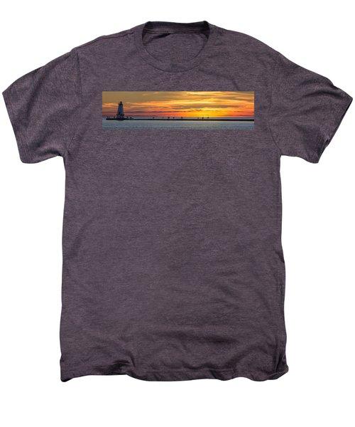 Sunset Over Ludington Panoramic Men's Premium T-Shirt