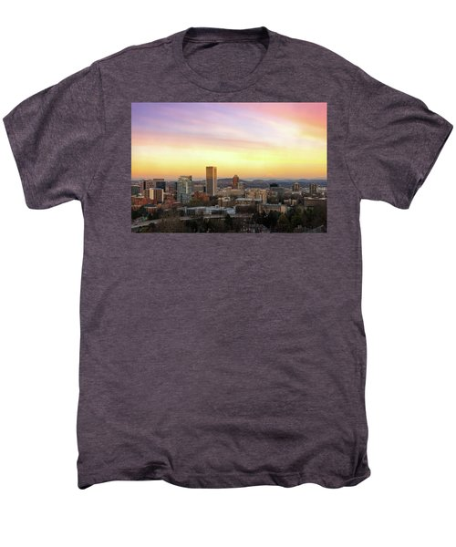 Sunset Over Portland Cityscape And Mt Hood Men's Premium T-Shirt