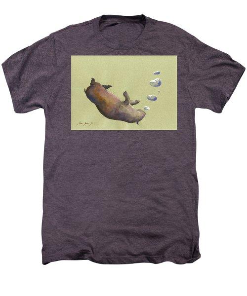 Swimming Hippo With Bubbles Men's Premium T-Shirt
