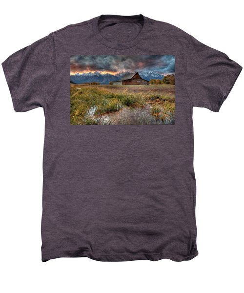 Teton Nightfire At The Ta Moulton Barn Men's Premium T-Shirt