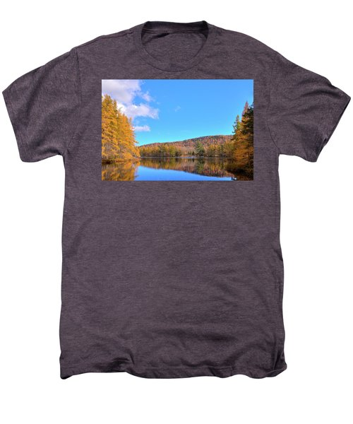 Men's Premium T-Shirt featuring the photograph The Golden Tamaracks Of Woodcraft Camp by David Patterson