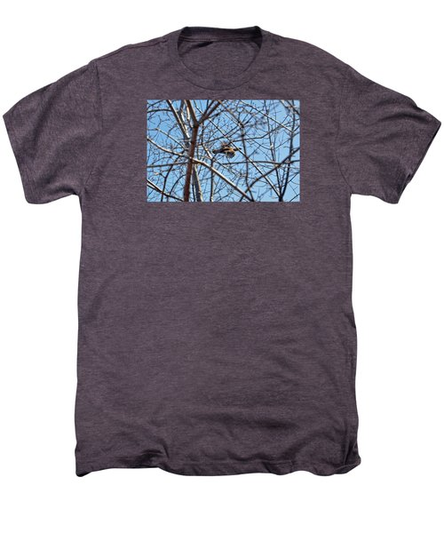 The Ruffed Grouse Flying Through Trees And Branches Men's Premium T-Shirt