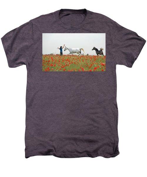 Three At The Poppies' Field Men's Premium T-Shirt by Dubi Roman