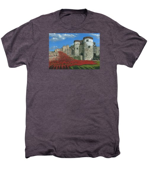 Tower Of London Poppies - Blood Swept Lands And Seas Of Red  Men's Premium T-Shirt by Richard Harpum