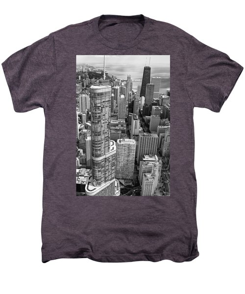 Men's Premium T-Shirt featuring the photograph Trump Tower And John Hancock Aerial Black And White by Adam Romanowicz