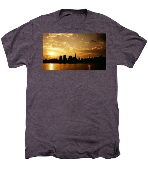 Two Suns - The New York City Skyline In Silhouette At Sunset Men's Premium T-Shirt