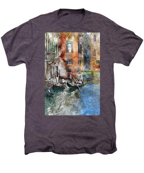 Venetian Gondolier In Venice Italy Men's Premium T-Shirt