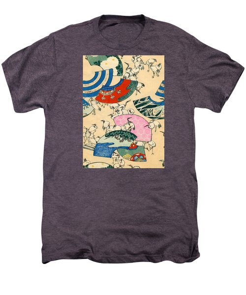 Vintage Japanese Illustration Of Fans And Cranes Men's Premium T-Shirt