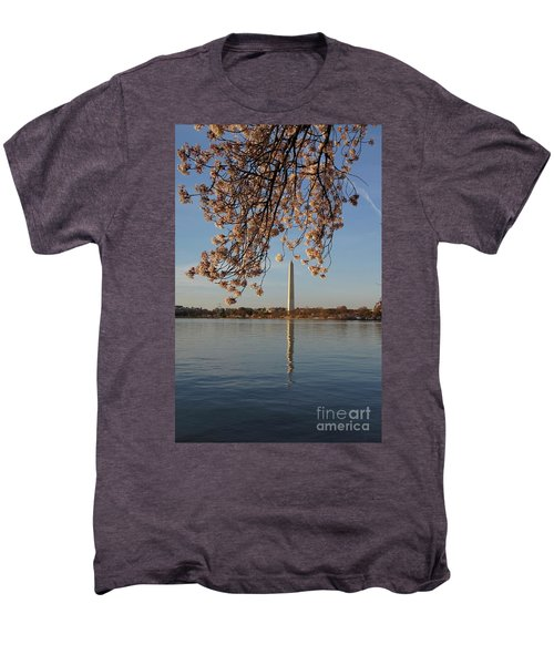 Washington Monument With Cherry Blossoms Men's Premium T-Shirt by Megan Cohen