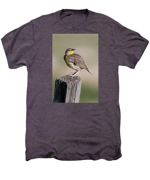 Men's Premium T-Shirt featuring the photograph Western Meadowlark by Gary Lengyel