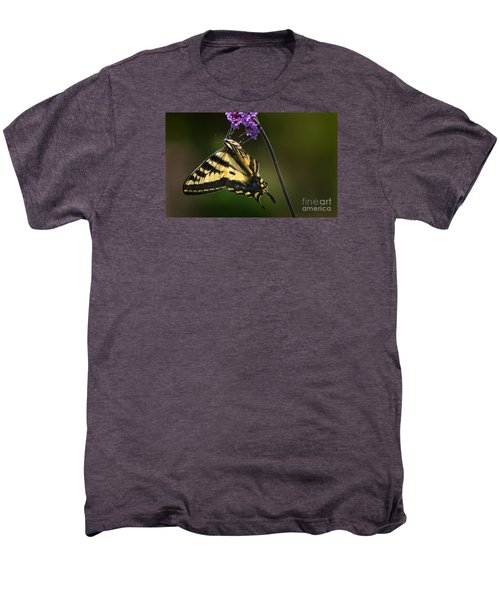 Western Tiger Swallowtail Butterfly On Purble Verbena Men's Premium T-Shirt