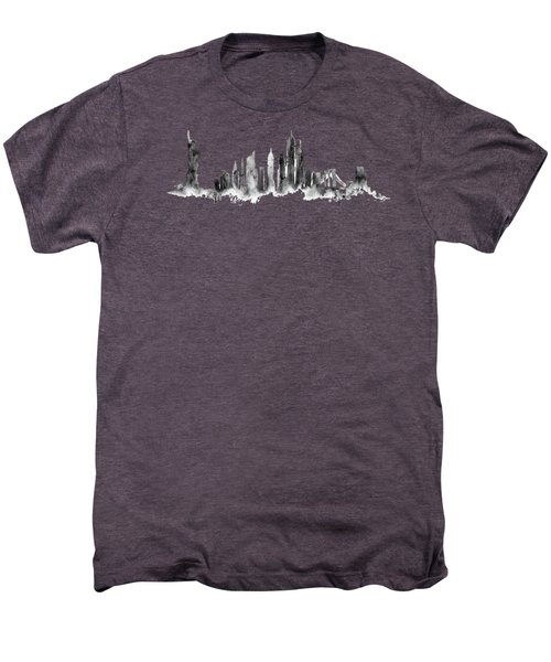 White New York Skyline Men's Premium T-Shirt by Aloke Creative Store