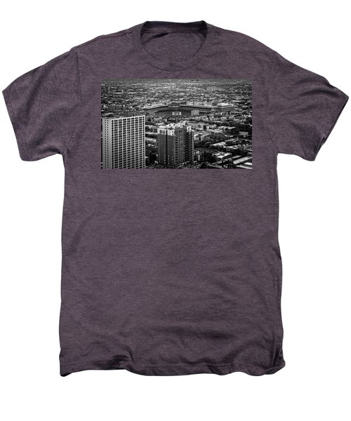 Wrigley Field Park Place Towers Day Bw Dsc4575 Men's Premium T-Shirt by Raymond Kunst