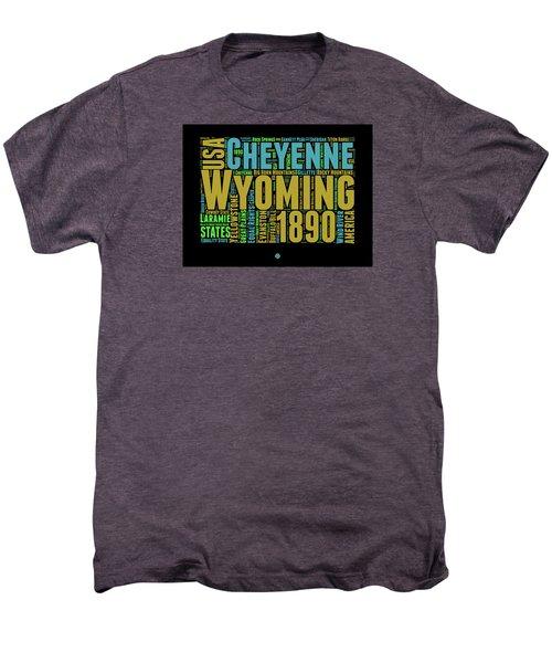Wyoming Word Cloud Map 1 Men's Premium T-Shirt by Naxart Studio