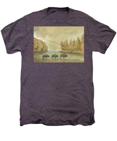 Yellowstone And Bisons Men's Premium T-Shirt by Juan Bosco