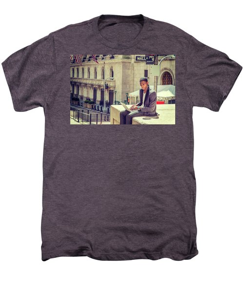 Young African American Man Working On Wall Street In New York Men's Premium T-Shirt