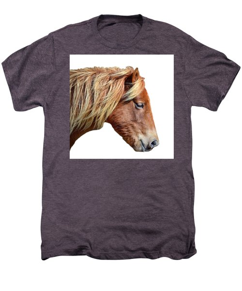 Men's Premium T-Shirt featuring the photograph Assateague Pony Sarah's Sweet On White by Bill Swartwout Fine Art Photography