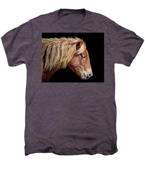 Men's Premium T-Shirt featuring the photograph Assateague Pony Sarah's Sweet Tea Portrait On Black by Bill Swartwout Fine Art Photography