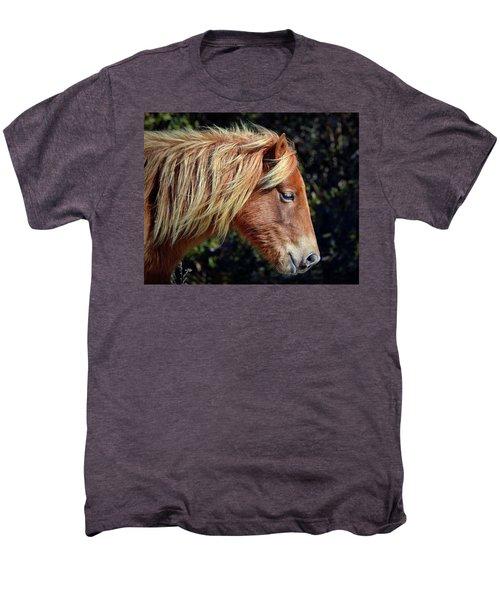 Men's Premium T-Shirt featuring the photograph Assateague Pony Sarah's Sweet Tea Profile by Bill Swartwout Fine Art Photography