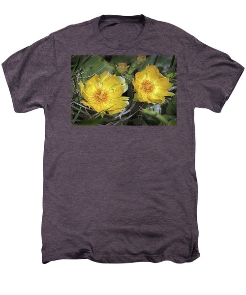 Men's Premium T-Shirt featuring the photograph Eastern Prickley Pear Cactus Flower On Assateague Island by Bill Swartwout Fine Art Photography