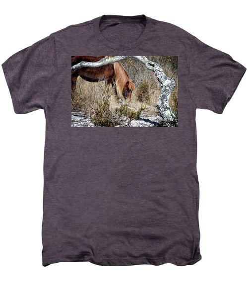 Men's Premium T-Shirt featuring the photograph Lunchtime For Assateague's Gokey Go Go Bones by Bill Swartwout Fine Art Photography