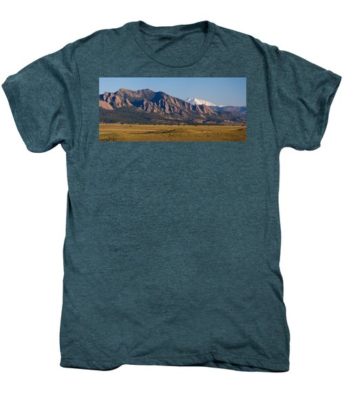 Flatirons And Snow Covered Longs Peak Panorama Men's Premium T-Shirt