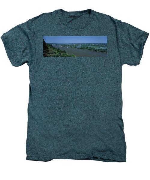 River Flowing Through A Landscape Men's Premium T-Shirt