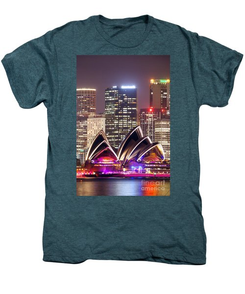 Sydney Skyline At Night With Opera House - Australia Men's Premium T-Shirt by Matteo Colombo