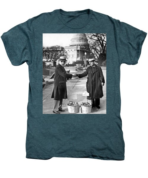 Unemployed Man Sells Apples Men's Premium T-Shirt by Underwood Archives