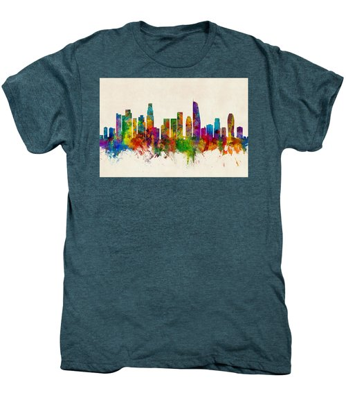 Los Angeles California Skyline Men's Premium T-Shirt by Michael Tompsett