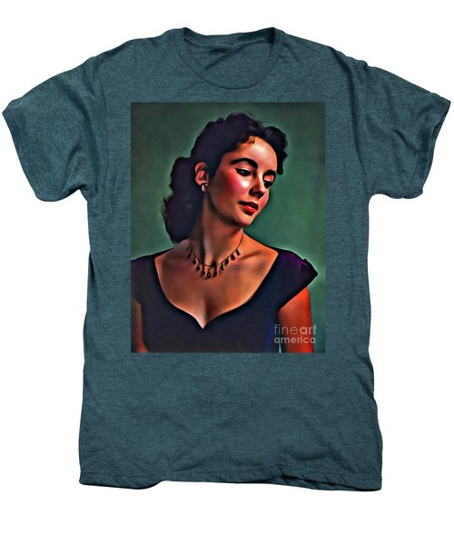 Elizabeth Taylor, Vintage Hollywood Legend By Mary Bassett Men's Premium T-Shirt