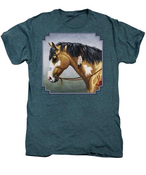 Buckskin Native American War Horse Men's Premium T-Shirt by Crista Forest
