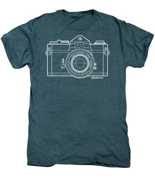 Asahi Pentax 35mm Analog Slr Camera Line Art Graphic White Outline Men's Premium T-Shirt by Monkey Crisis On Mars