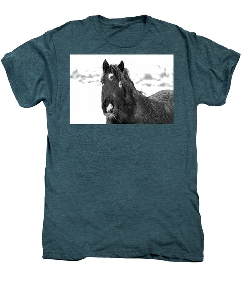 Black Horse Staring In The Snow Black And White Men's Premium T-Shirt