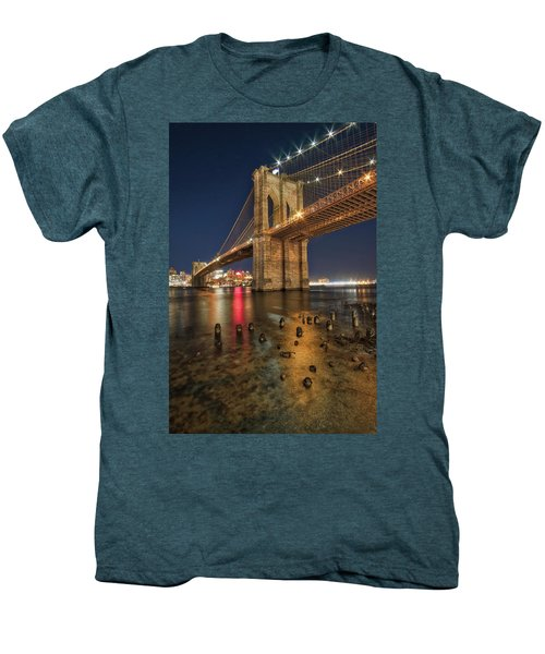 Brooklyn Bridge At Night Men's Premium T-Shirt