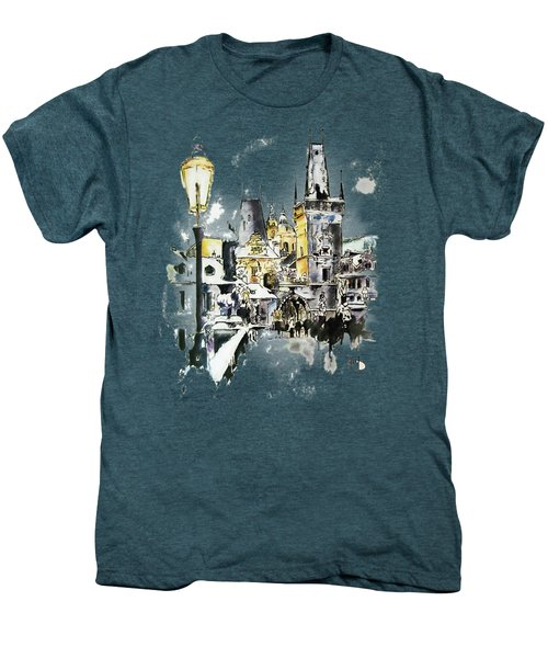 Charles Bridge In Winter Men's Premium T-Shirt by Melanie D