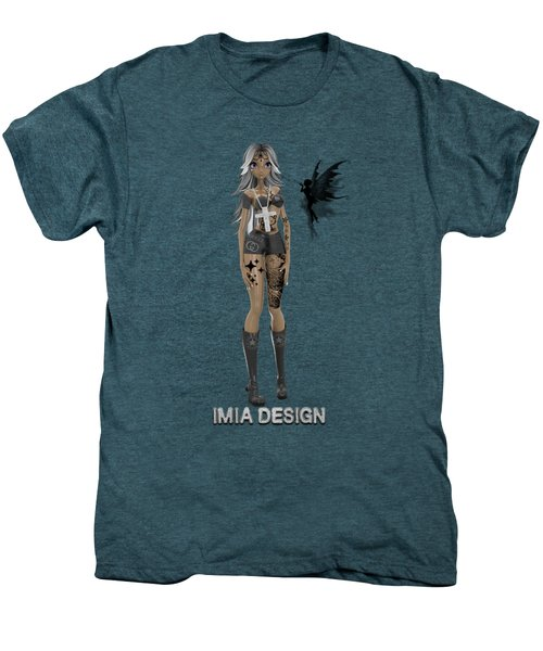 Cool 3d Manga Girl With Bling And Tattoos Men's Premium T-Shirt by iMia dEsigN