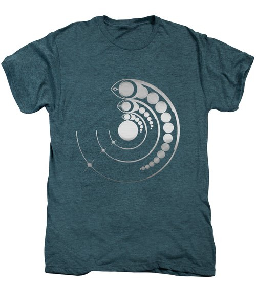 Crop Circle Formation Near Avebury Stone Circle In Wiltshire England In Silver Men's Premium T-Shirt