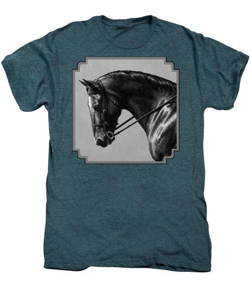 Dark Brown Dressage Horse Black And White Men's Premium T-Shirt