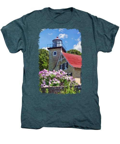 Door County Eagle Bluff Lighthouse Lilacs Men's Premium T-Shirt