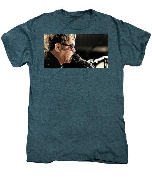 Elton John At The Mic Men's Premium T-Shirt by Elaine Plesser