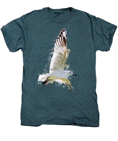Flying Seagull Abstract Sky Men's Premium T-Shirt by Elaine Plesser