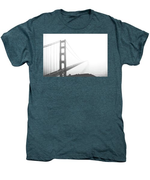Men's Premium T-Shirt featuring the photograph Foggy Golden Gate Bridge  by MGL Meiklejohn Graphics Licensing
