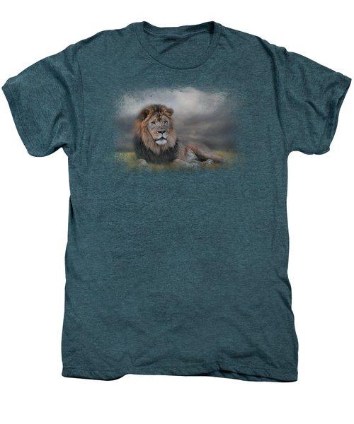 Lion Waiting For The Storm Men's Premium T-Shirt by Jai Johnson