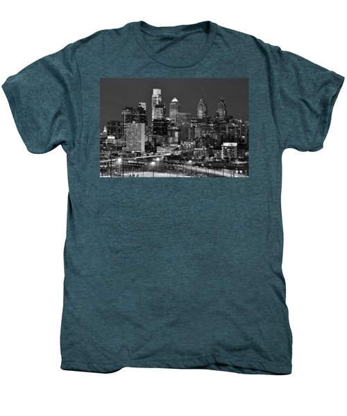 Philadelphia Skyline At Night Black And White Bw  Men's Premium T-Shirt
