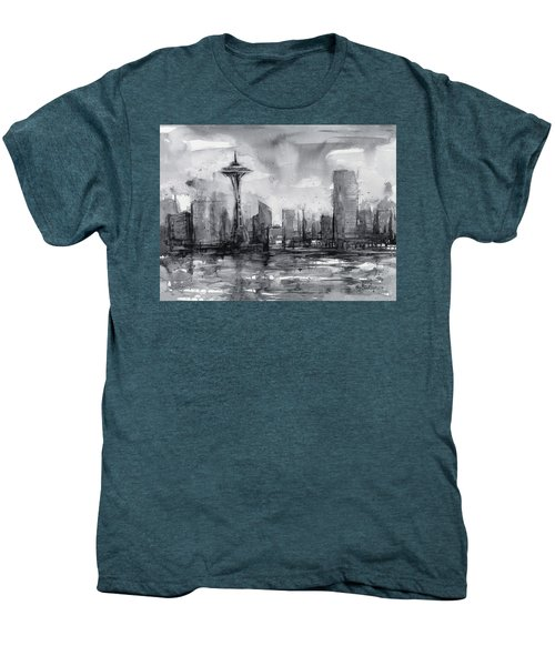 Seattle Skyline Painting Watercolor  Men's Premium T-Shirt