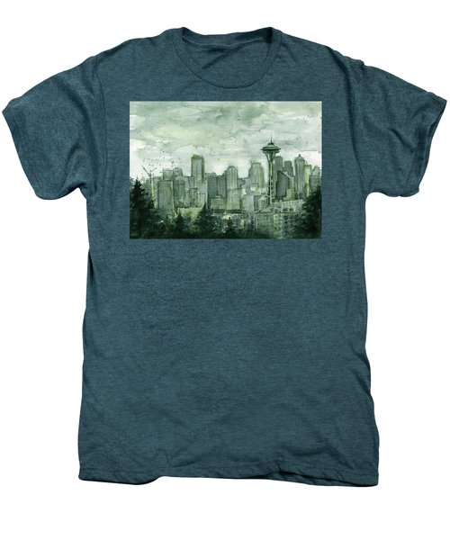 Seattle Skyline Watercolor Space Needle Men's Premium T-Shirt by Olga Shvartsur