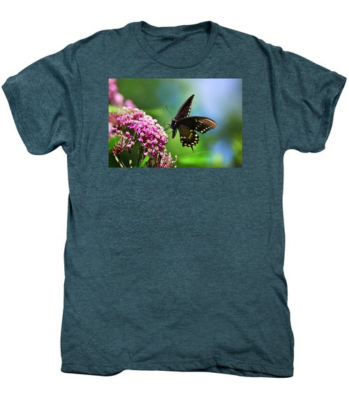 Spicebush Swallowtail Butterfly On Pink Flower Men's Premium T-Shirt