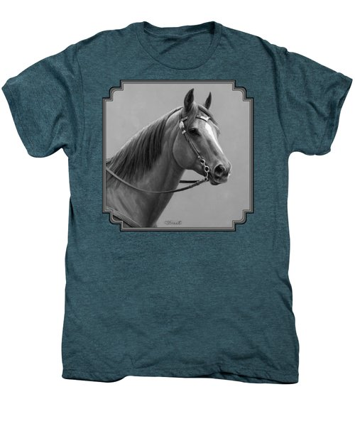 Western Quarter Horse Black And White Men's Premium T-Shirt by Crista Forest