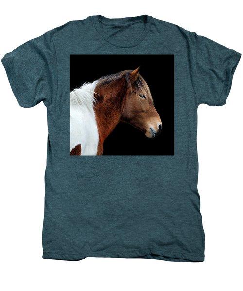 Men's Premium T-Shirt featuring the photograph Assateague Pony Susi Sole Portrait On Black by Bill Swartwout Fine Art Photography